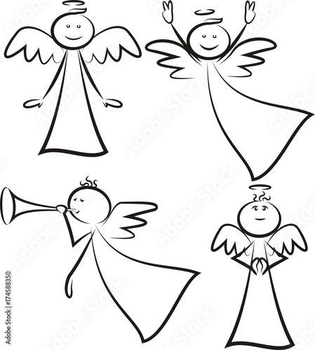 angel - vector stick man