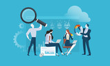 Market research and SEO. Flat design vector illustration concept for web banner, business presentation, advertising material. - 174593316