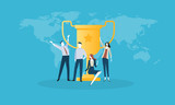 Success. Flat design business people concept. Vector illustration concept for web banner, business presentation, advertising material. - 174593368