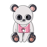 cute panda bear icon over white background colorful design  vector illustration - 174599917