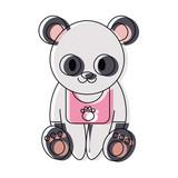 cute panda bear icon over white background colorful design  vector illustration