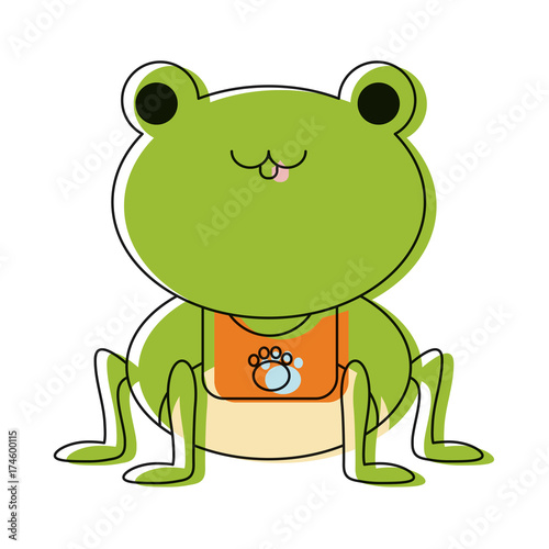 cute frog icon over white background colorful design vector illustration
