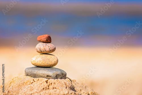 Foto op Canvas Zen Pile of balanced stones