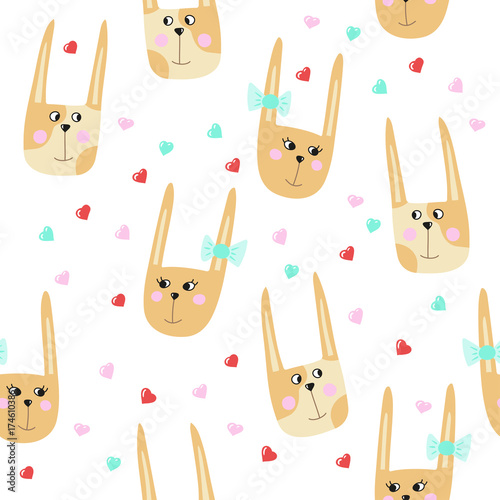 Seamless pattern with cute cartoon hares. Vector template suitable for wrapping paper, bedding pattern for kids,  print on clothes.