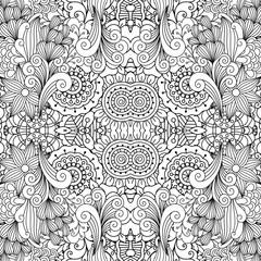 Floral decorative doodle linear pattern