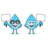 water drop with card in hands cartoon illustration - 174633969