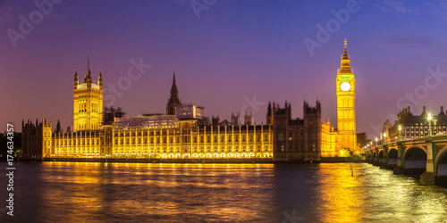 Big Ben, Parliament, Westminster bridge in London Poster