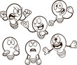 Cartoon light bulb with different expressions. Vector clip art illustration. Each on a separate layer.