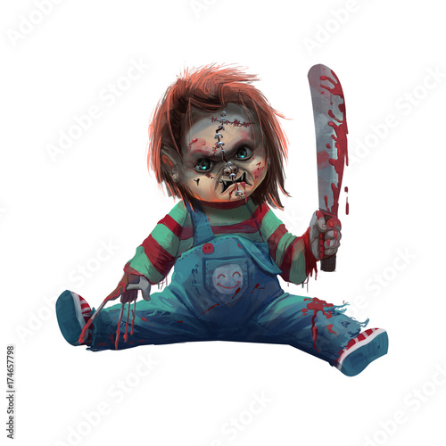 Cool Character: Devil Doll isolated on White Background. Video Game's Digital CG Artwork, Concept Illustration, Realistic Cartoon Style Background and Character Design