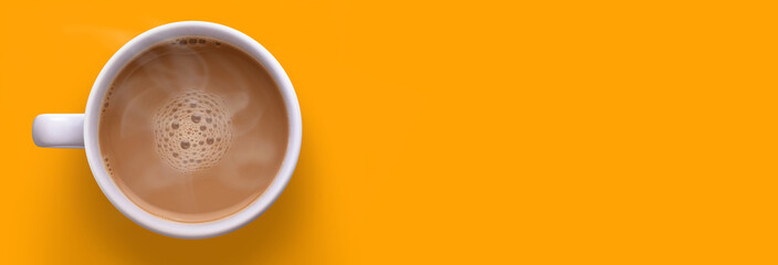 Cup of coffee on yellow background. © Chirawan