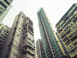 low angle view of residential blocks in Hong Kong,China,East Asia. - 174659170