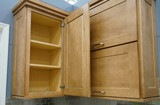 Wood kitchen cabinet with door open - 174660772