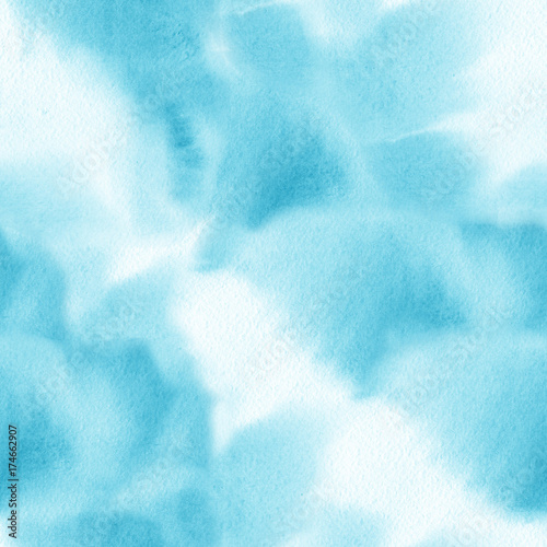 Watercolor blue brush strokes background. Seamless pattern. - 174662907