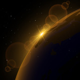Ray sunlight in cosmos over Earth. Vector background
