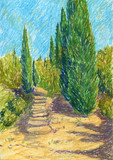 landscape with road and cypress trees