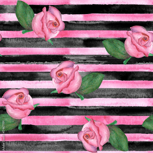 Horizontal striped roses texture - 174671191