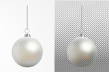 Realistic transparent Christmas ball. New year toy