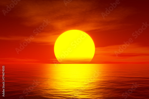 Poster Rood traf. red sunset over the ocean