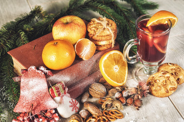 Mulled wine for Christmas . Christmas holiday still life