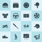 Simple 16 set of sport filled icons