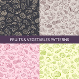 Vector handsketched fruits and vegetables vegan, healthy food, organic patterns set - 174677593