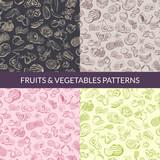 Vector handsketched fruits and vegetables vegan, healthy food, organic patterns set