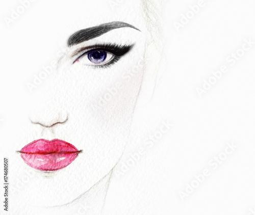 Makeup. Fashion illustration. Beautiful woman face