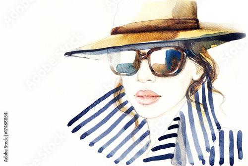 Woman in coat. Fashion illustration. Beautiful woman
