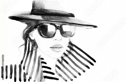 Woman in coat. Fashion illustration. Beautiful woman  - 174681188