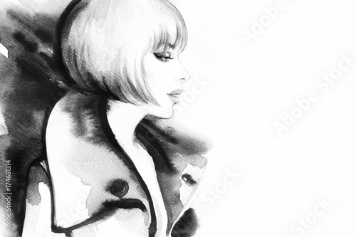 Fotobehang Anna I. Woman in coat. Fashion illustration. Watercolor painting