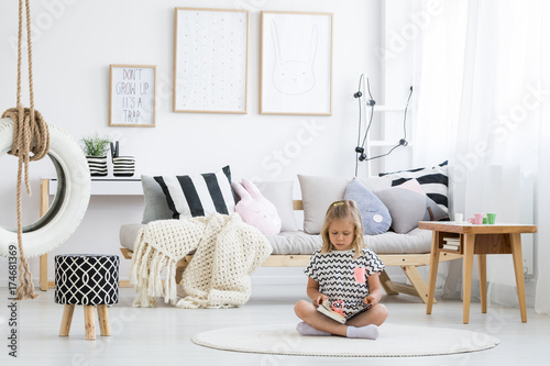 Girl in striped shirt Poster