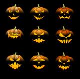 Orange 3d halloween pumpkins set. - 174683797