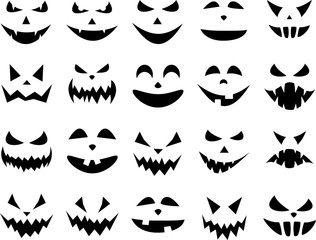 Halloween pumpkin face patterns on white.