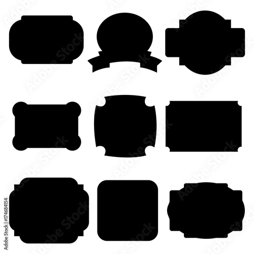 Set of black labels, badges isolated on white background. Vector illustration - 174684154