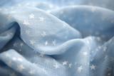 Light blue fabric with white stars in full frame - 174685968