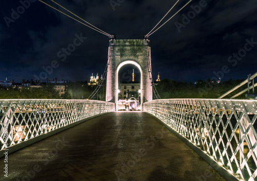 Deurstickers Brooklyn Bridge Lyon skyline with Saone river by night