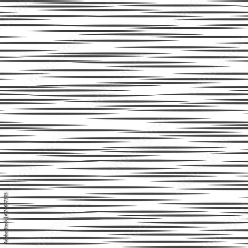 Black and white geometric pattern. Seamless abstract background. Vector stripe, lines. Horizontal speed line pattern. - 174687305