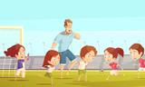 Kids Sport Cartoon Vector Illustration - 174689714