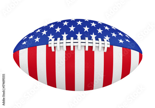 Staande foto Bol American Football Ball with USA Flag Isolated