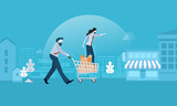 Shopping. Flat design vector illustration concept for web banner and marketing material. - 174692106