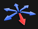3d image of arrows in different directions. Image with clipping path - 174695380