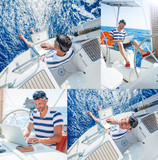 Collage of images Man with laptop computer on sailboat - 174695925