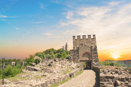 Keuken foto achterwand Beige A beautiful view of the Tsarevets fortress among the green hills in Veliko Tarnovo, Bulgaria