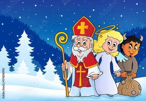 Deurstickers Voor kinderen Saint Nicholas Day theme 4