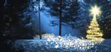 Magic christmas tree winter wood snowman - 174699125