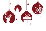 rote Christbaumkugeln mit weihnachtlichen Motiven