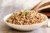 Red Quinoa brown rice served in a bowl, selective focus - 174707909