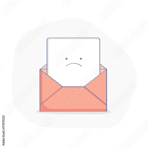 Cute Upset Open Envelope With Letter Bad News Red Mail Warning
