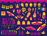 Happy Day of the dead traditional mexican icon set - 174719799