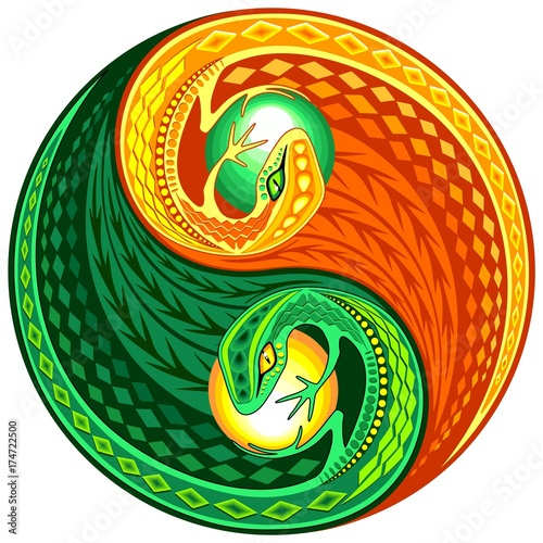 Tuinposter Draw YinYang Gecko Lizard Opposite Colors Sign